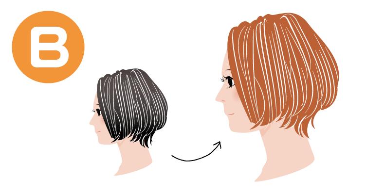 白髪はそのままで黒髪がオレンジ色に染まる